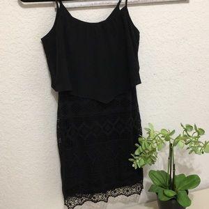AEO black lace w/overlay spaghetti strap dress